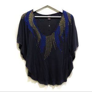 Free People Studded Poncho Top Batwing Soft Tank
